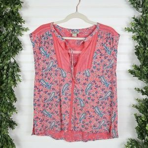 Lucky Brand Pink Paisley Drop Sleeve Boxy Top L